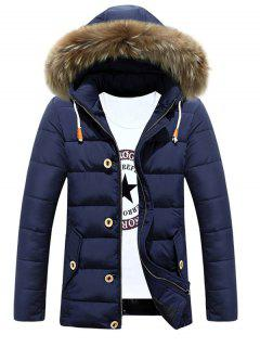 Detachable Furry Hood Zip Up Padded Coat - Cadetblue Xl