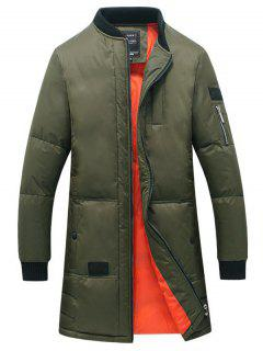Breast Pocket Rib Cuff Zippered Quilted Coat - Army Green L