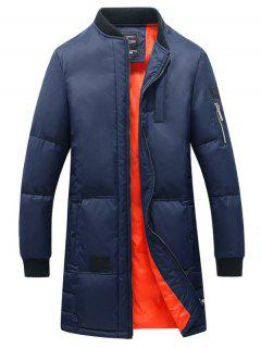 Breast Pocket Rib Cuff Zippered Quilted Coat - Blue Xl