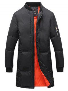 Breast Pocket Rib Cuff Zippered Quilted Coat - Black L