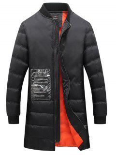 Patched Rib Cuff Zip Up Quilted Coat - Black 4xl