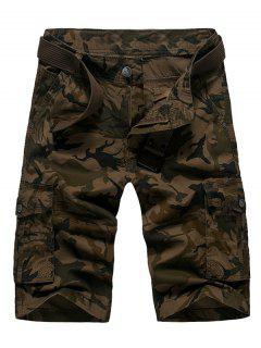 Zipper Fly Straight Leg Camouflage Cargo Shorts - Coffee 32