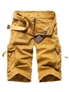 Zipper Fly Straight Leg Multi-Pocket Cargo Shorts - Khaki 30