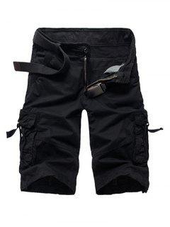 Zipper Fly Straight Leg Multi-Pocket Cargo Shorts - Black 29