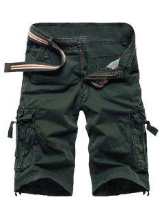 Zipper Fly Straight Leg Multi-Pocket Cargo Shorts - Army Green 31