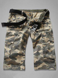 Zipper Fly Multi-Pocket Camouflage Cargo Shorts - Khaki 34