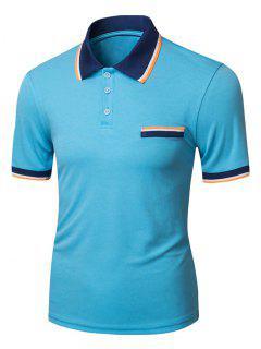 Equipo Universitario De La Raya Del Bloque Del Color Del Ribete Camiseta Del Polo - Azul M