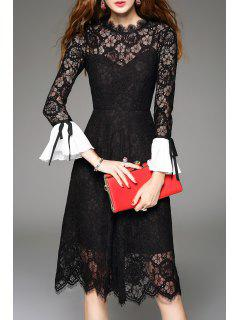 Bowknot Lace Openwork Midi Dress - Black L