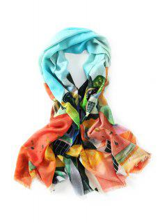 Innocence Watercolor House Painting Fringed Wool Scarf - Light Blue