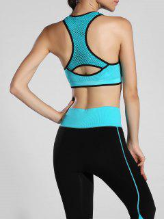 Piped Pullover Sports Bra - Lake Blue L
