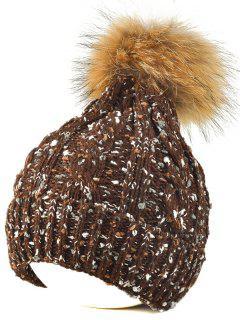 Fuzzy Ball Flanging Knit Beanie - Coffee