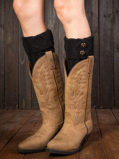Buttons Rhombus Flanging Boot Cuffs - Black
