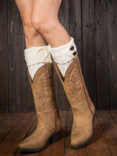 Buttons Rhombus Flanging Boot Cuffs - White