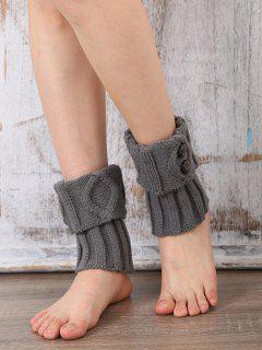 Buttons Rhombus Flanging Boot Cuffs - Light Gray