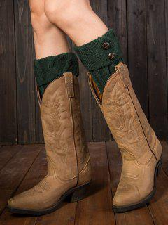 Buttons Rhombus Flanging Boot Cuffs - Blackish Green