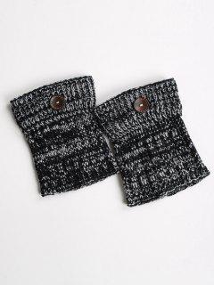 Buttons Yoga Knit Boot Cuffs - Black