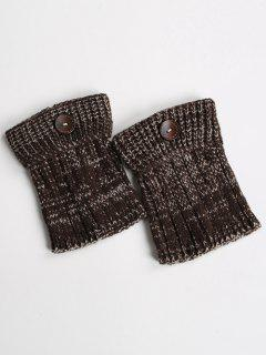 Buttons Yoga Knit Boot Cuffs - Dark Coffee