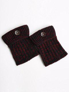Buttons Yoga Knit Boot Cuffs - Wine Red