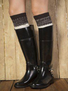 Color Block Yoga Crochet Knit Boot Cuffs - Black Grey