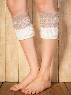 Color Block Yoga Crochet Knit Boot Cuffs - Light Camel