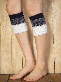 Color Block Yoga Crochet Knit Boot Cuffs - Cadetblue