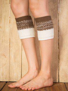 Color Block Yoga Crochet Knit Boot Cuffs - Coffee