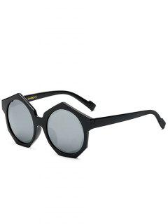 Polygonal Frame Mirrored Sunglasses - Silver