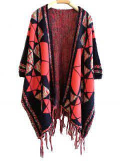 Tassel Geometry Cape Pashmina - Deep Blue