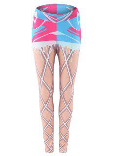 Two Piece Look Printed Leggings - S