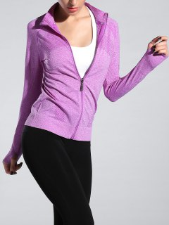 Glove Sleeve Sports Jacket - Light Purple M