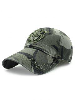 Shield Embroidery Camouflage Baseball Hat - Army Green