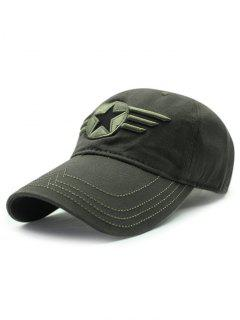Star Badge Embroidery Baseball Hat - Army Green