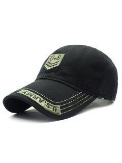 USA Shield Embroidery Baseball Hat - Black