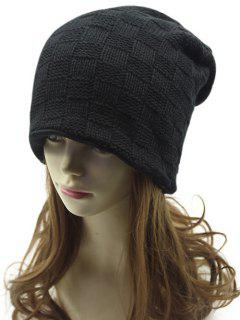 Plaid Weaving Double-Deck Knit Beanie - Black