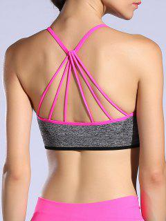Padded Strappy Back Sports Bra - Rose Red M