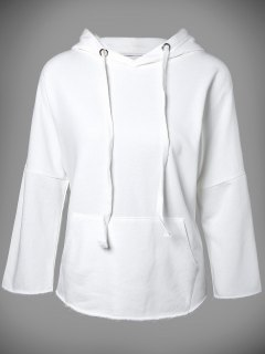 Big Pocket Long Sleeve Drawstring Hoodie - White S