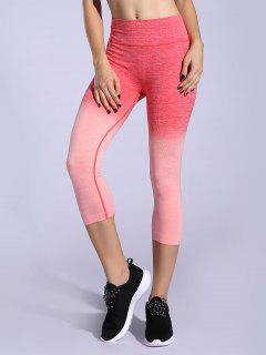 Ombre Color Capri Leggings - Orangepink M
