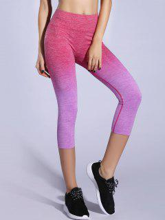 Ombre Color Capri Leggings - Light Purple M