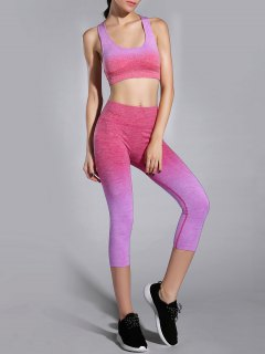 Ombre Color Gym Bra And Cropped Leggings - Light Purple M