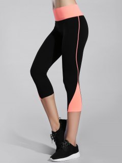 Skinny Color Block Capri Leggings - Orangepink M