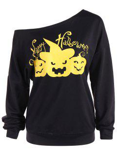Asymmetric Neckline Happy Halloween Sweatshirt - Black M