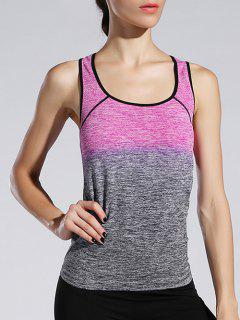 Space-Dyed Ombre Sporty Tank Top - Rose Red S