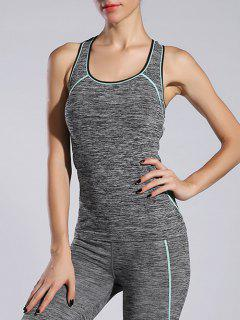 Space-Dyed Sports Running Tank Top - Light Blue M