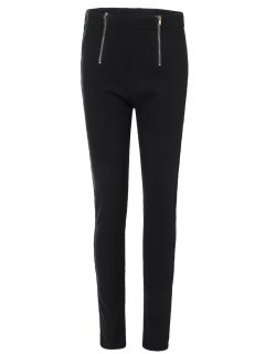 Zipper Embellished Pencil Pants - Black S