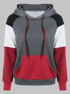 Raglan Sleeves Single Pocket Hoodie - Black And White And Red M