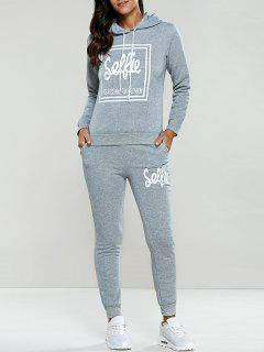 Letter Print Drawstring Hoodie Tracksuit - Light Gray L
