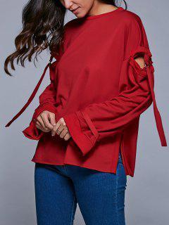 Cutout Round Neck Side Slit Sweatshirt - Red