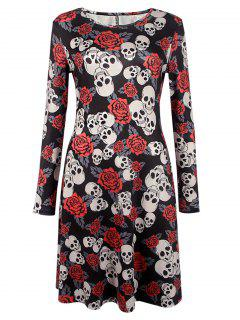 Halloween Skull Print Long Sleeve Dress - Black S