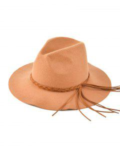 Floppy Braided Tassel Felt Hat - Antique Brown