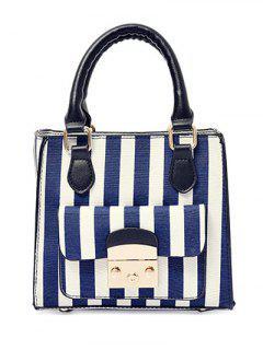 Striped Pattern Colour Block Canvas Tote Bag - Deep Blue